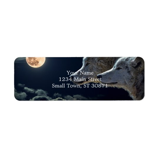 Wolf Wolves Howling at the Full Moon Return Address Label