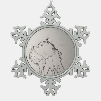 Wolfo's ordement snowflake pewter christmas ornament