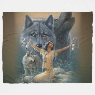 WOLFS and INDIAN MAIDEN Fleece Blanket