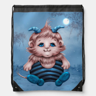 WOLFY ALIEN MONSTER CARTOON Drawstring Backpack