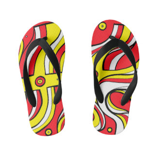 """""""Wolle"""" Adult Flip Flops Yellow Red Thongs"""