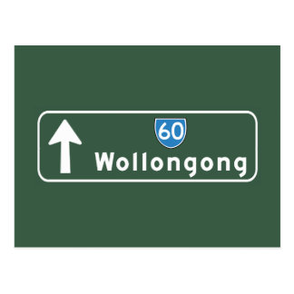 Wollongong Australia Road Sign Post Card