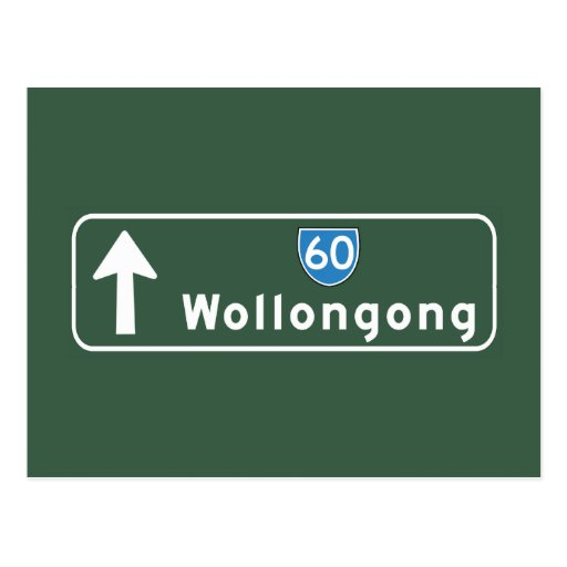 Wollongong, Australia Road Sign Post Card