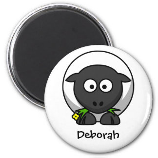 Wolly sheep 6 cm round magnet