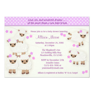Wolly Sheeps LAMB Baby Shower invitation lavender