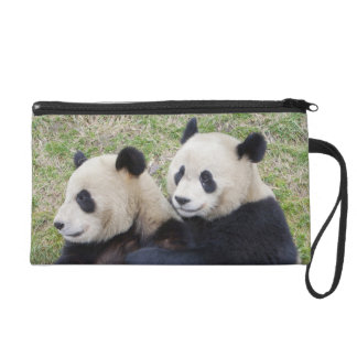 Wolong Reserve, China, Giant panda hugging Wristlet Purses