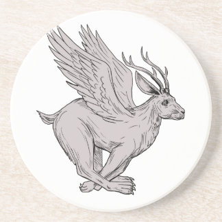 Wolpertinger Running Side Drawing Coaster