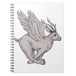 Wolpertinger Running Side Drawing Spiral Notebook