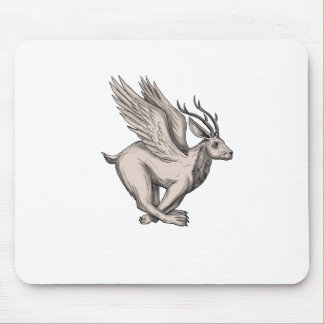 Wolpertinger Running Side Tattoo Mouse Pad