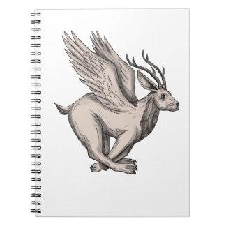 Wolpertinger Running Side Tattoo Notebook