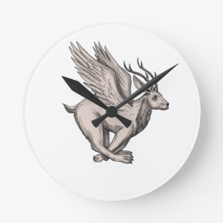 Wolpertinger Running Side Tattoo Round Clock