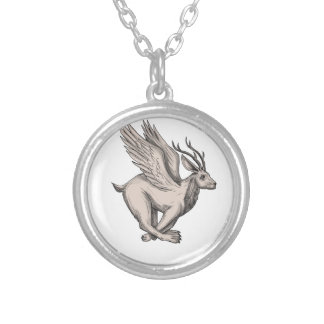 Wolpertinger Running Side Tattoo Silver Plated Necklace