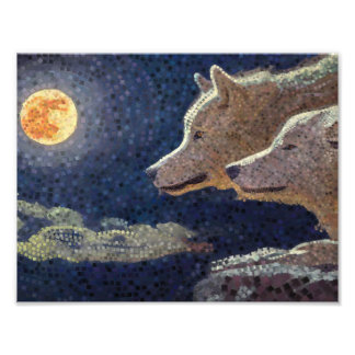 Wolves and moon mosaic art - print photo art