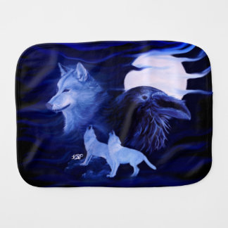 Wolves and Raven with full moon Burp Cloth