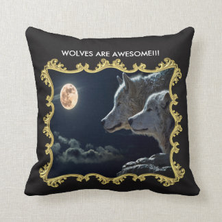 WOLVES ARE AWESOME!!! Gold Frame Throw Pillow