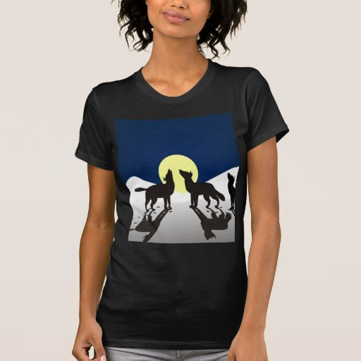 wolves howl winter snow and moon t shirt