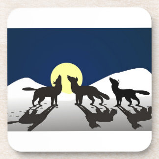 Wolves Howling at the Moon Beverage Coasters
