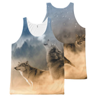 Wolves Howling at the Moon Tank Top