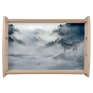 Wolves in Snowy Winter Landscape Serving Tray