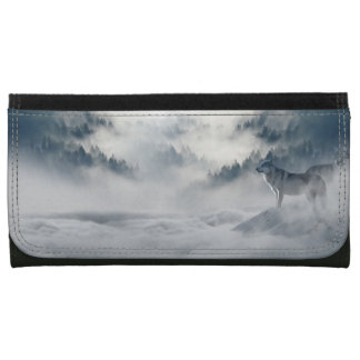 Wolves In Winter Clutch Leather Wallet