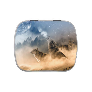 Wolves Moon Fog Nature Scenery Jelly Belly Tin