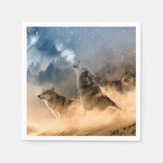 Wolves Moon Fog Nature Scenery Paper Serviettes