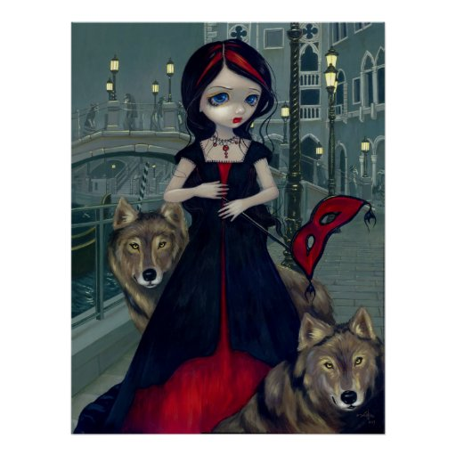Wolves of Venice gothic wolf Art Print