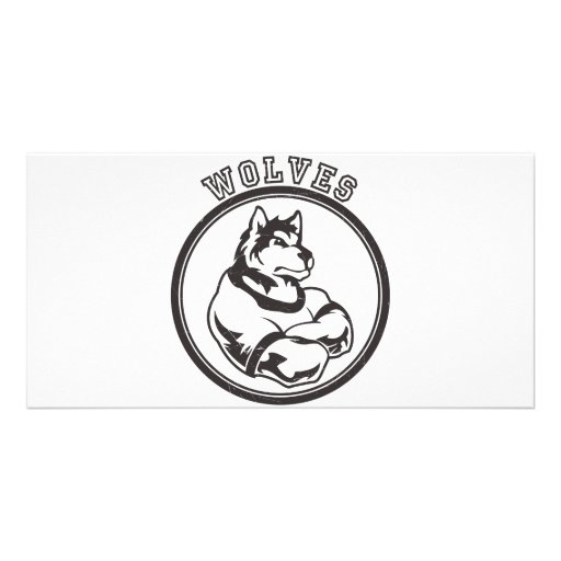 Wolves or Wolf Mascot Customized Photo Card