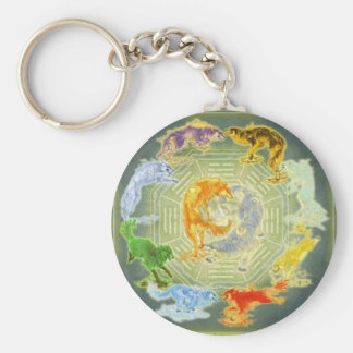 wolves with elements basic round button key ring