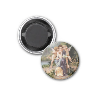 Woman and angels 3 cm round magnet