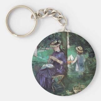 Woman and child in Garden by Berthe Morisot Key Chains