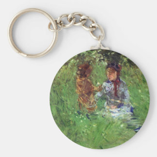 Woman and child in garden in Bougival by Morisot Keychains