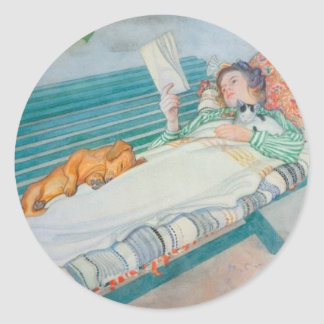 Woman and Dog on a Bench Round Sticker