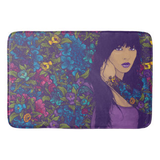 Woman and Flowers Bath Mat