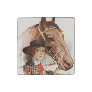 Woman and Horse 4 Stone Magnet