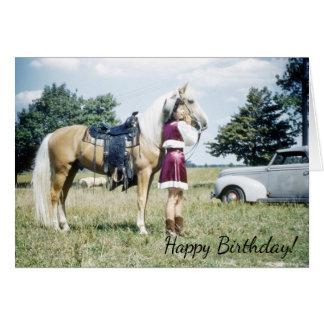 Woman and Horse, Retro Fifties Pony Birthday Wish Card