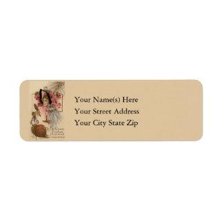 Woman and Jack O Lantern Vintage Return Address Label