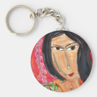 Woman and Latte Basic Round Button Key Ring