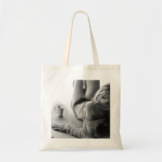 Woman and morning coffee Graphite Tote bag