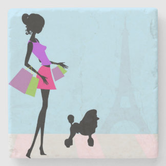 Woman and Poodle in Paris Stone Coaster