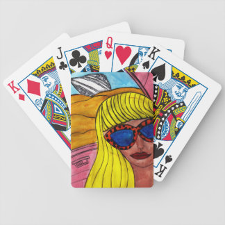 Woman and UFO Bicycle Playing Cards