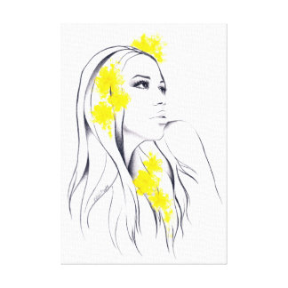 Woman and yellow flowers fashion illustration art canvas print