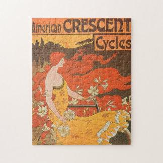 Woman Art Nouveau American Crescent Bicycle Bike Jigsaw Puzzles
