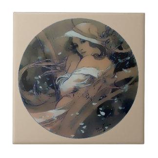 Woman Art Nouveau Mucha Winter Ceramic Tile
