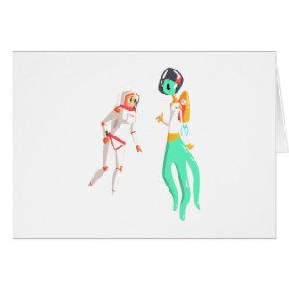 Woman Astronaut Meeting Alien Female Being On Dark Card