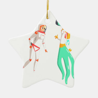Woman Astronaut Meeting Alien Female Being On Dark Ceramic Ornament