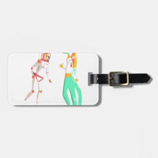 Woman Astronaut Meeting Alien Female Being On Dark Luggage Tag