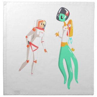 Woman Astronaut Meeting Alien Female Being On Dark Napkin