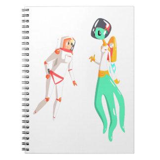 Woman Astronaut Meeting Alien Female Being On Dark Notebook