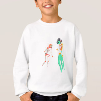 Woman Astronaut Meeting Alien Female Being On Dark Sweatshirt